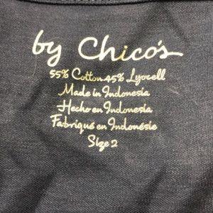 Chico's 3/4 sleeve Button Henley shirt Basin Blue